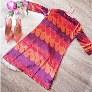 Tracy Negoshian Coral Purple Sophia Dress NWT